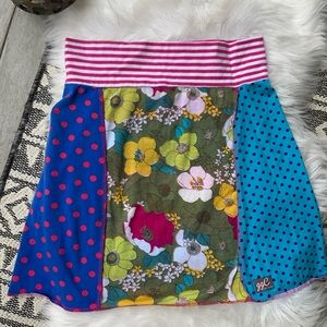 GG Collection Mixed Media Paneled Patchwork Skirt